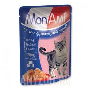 МонАми Пауч для кошек кусочки в соусе Телятина