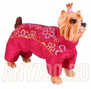 фото Dezzie Комбинезон для собак породы Ши-тцу, красный с цветами, девочка, болонья 5635501