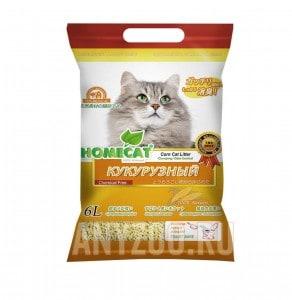 фото Home Cat Эколайн Кукурузный Комкующийся наполнитель для кошачьего туалета