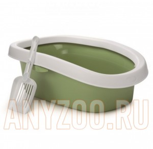 фото Beeztees 400327 Туалет для кошек овальный с совком зеленый 58*39см