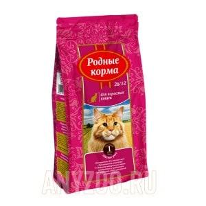 Родные корма 26/12 сухой корм для взрослых кошек мясное рагу