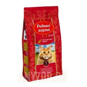 Родные корма 26/12 сухой корм для взрослых кошек телятина