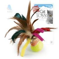 фото GiGwi Игрушка для кошек Мячик с перьями