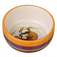 фото Trixie 60803 Миска керамическая для кроликов, разноцветная/кремовая