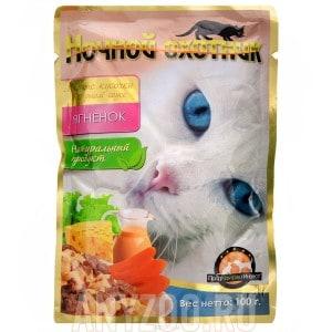фото Ночной охотник консервы для кошек ягнёнок кусочки в сырном соусе