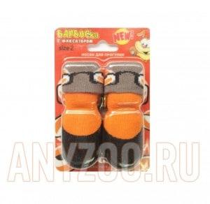 Барбоски носки для собак с латексным покрытием оранжевые с принтом