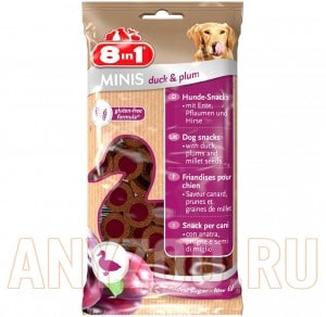 Купить 8 in 1 Minis Лакомство для собак с уткой, сливой и просом