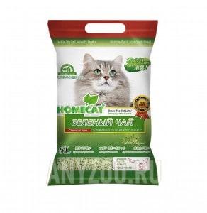 фото Home Cat Эколайн Зеленый чай Комкующийся наполнитель для кошачьего туалета