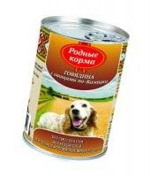 фото Родные корма Консервы для собак Говядина с овощами по-казацки