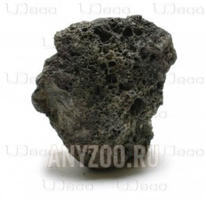 """фото UDeco Black Lava Натуральный камень """"Лава чёрная"""" для оформления аквариумов и террариумов, 1 шт"""