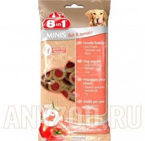 Купить 8 in 1 Minis Лакомство для собак с рыбой, томатами и рисом