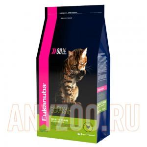 Купить Eukanuba Hairball Control Экануба сухой корм кошек Вывод шерсти из желудка с домашней птицей