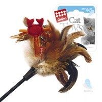 фото GiGwi Дразнилка для кошек с крабиком, натуральные некрашеные перья