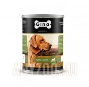 фото Gina  Джина консервы  для взрослых собак Индейка и овощи