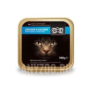 Купить X·Cat Икс-кет консервы для кошек кусочки курицы и лосося в желе