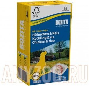 Купить Bozita Tetra Pak консервы для собак Кусочки в желе Курица с рисом