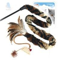 фото GiGwi Дразнилка для кошек с верёвкой, натуральные некрашеные перья