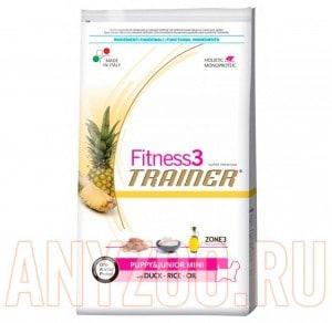 Купить Trainer Fitness 3 Puppy&Junior mini Duck&Rice  Сухой корм для щенков мелких пород Утка/рис
