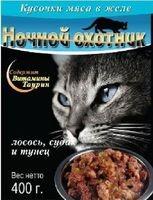 Ночной охотник консервы для кошек морской коктейль кусочки в желе
