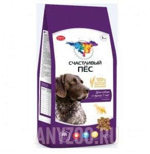 Счастливый пес Сухой корм для пожилых собак всех пород от 7 лет с ягненком