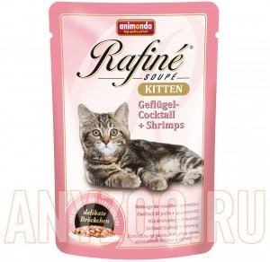 фото Animonda Rafine Soupe Kitten пауч для котят коктейль из мяса домашней птицы и креветок
