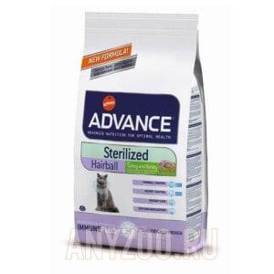 фото Advance Cat Sterilized Hairball Эдванс сухой корм для кошек выведение волосяных комочков у стерилизованных кошек