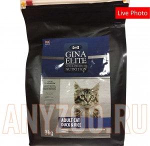 Купить Gina Elite Cat Duck&Rice Джина Элит сухой корм для взрослых кошек с уткой и рисом UK