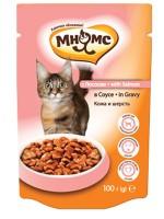 фото Мнямс паучи для взрослых кошек с лососем в соусе, для кожи и шерсти