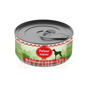 Родные корма Мясное угощение консервы для собак с говядиной