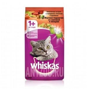 фото Whiskas Вискас сухой корм для взрослых кошек Подушечки нежный паштет с овощами  говядина/кролик