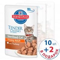 Набор Hills Feline Young Adult Sterilised  Cat Хилс пауч для стерилизованных кошек до 6 лет Индейка