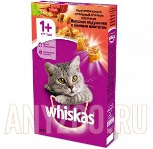 фото Whiskas Вискас сухой корм для взрослых кошек Подушечки нежный паштет говядина/кролик