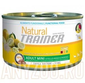фото Trainer Natural Mini Adult Beef, Rice& Ginseng Консервы для взрослых собак мелких пород Говядина