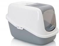 Savic Nestor Туалет закрытый для кошек, белый/светло-серый