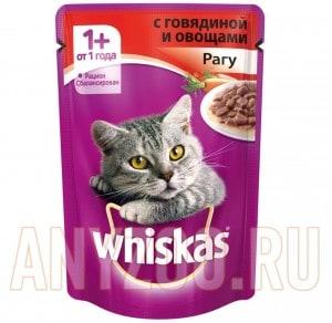 фото Whiskas - Вискас пауч для кошек Рагу с говядиной и овощами