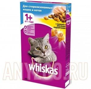 фото Whiskas Вискас Подушечки Сухой корм для кастрированных и стерилизовнных котов и кошек Курица