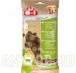 Купить 8 in 1 Minis Лакомство для собак с Говядиной, яблоком и картофелем