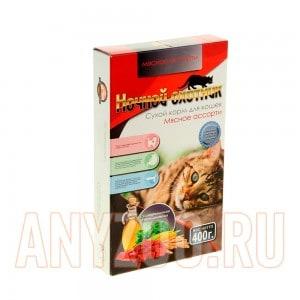 Ночной охотник сухой корм для кошек Мясное ассорти