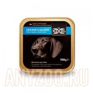 Купить X·Dog Икс-Дог консервы для собак кусочки курицы и лосося в желе