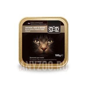 Купить X·Cat Икс-кет консервы для кошек кусочки курицы, говядины и сердца в бульоне