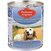 фото Родные корма Консервы для собак Говядина с потрошками в желе по Купечески