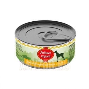 Родные корма Мясное угощение консервы для собак с курицей