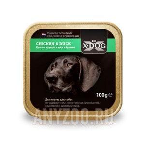 фото X·Dog Икс-Дог консервы для собак кусочки курицы и утки в бульоне