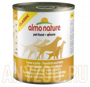 фото Almo Nature Classic консервы для собак с тунцом и курицей