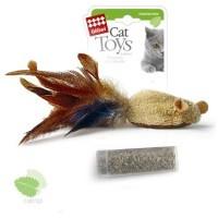 фото GiGwi Гигви игрушка для кошек Мышка с пером и контейнером с кошачьей мятой