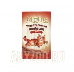 фото Molina Молина Лакомство для кошек Жевательные колбаски с уткой
