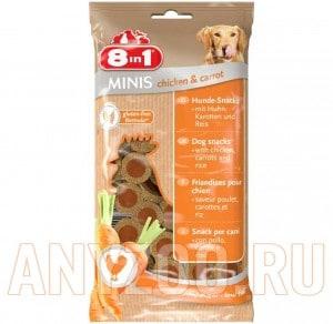 Купить 8 in 1 Minis Лакомство для собак с курицей, морковью и рисом