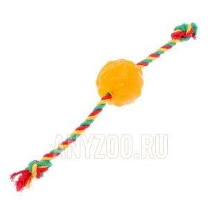 Доглайк игрушка для собак Мяч Космос с канатом