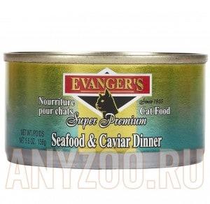 фото Evangers Seafood & Caviar консервы для кошек Обед Морепродукты с Икрой