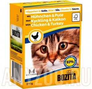 Купить Bozita Tetra Pak кон.д/кошек Кусочки в соусе Курица и индейка